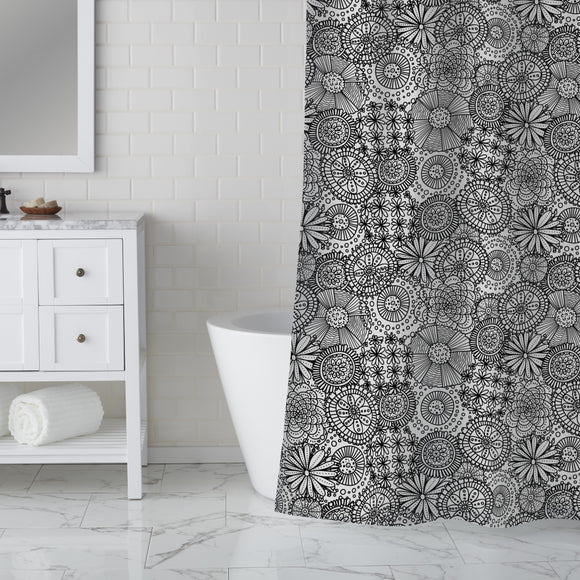 Full Of Doodle Flowers Shower Curtain