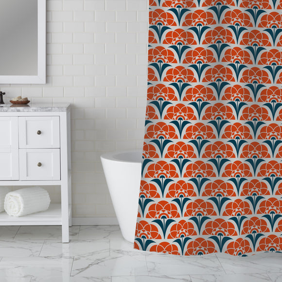 Burning Retro Suns Shower Curtain