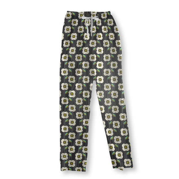 Retro Flowers And Leaves  Pajama Pants