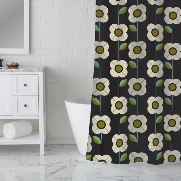 Retro Flowers And Leaves  Shower Curtain