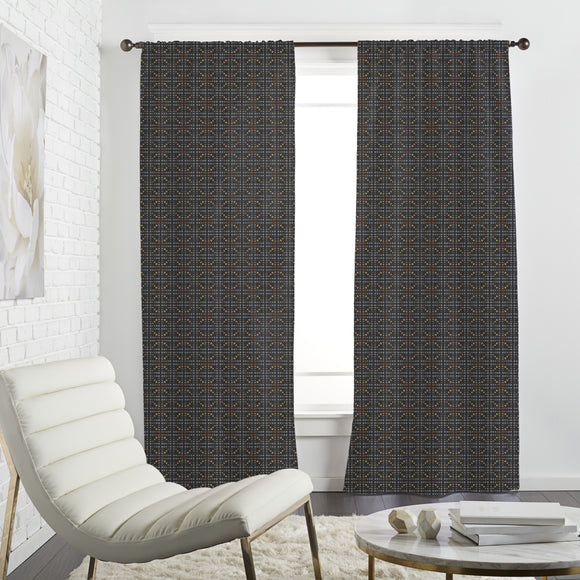 Bar Braced Black Curtains