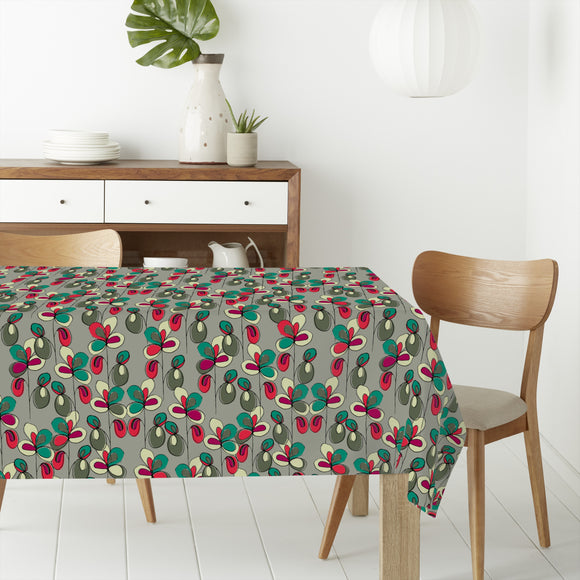 Lucky Flowers Grey Rectangle Tablecloths