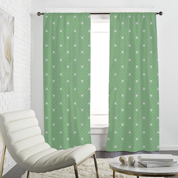 Fruits On Green Curtains