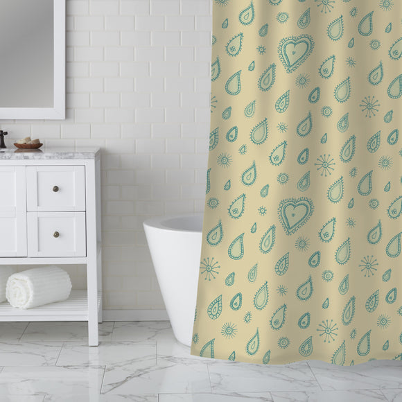 Yellow Summer Rain Shower Curtain