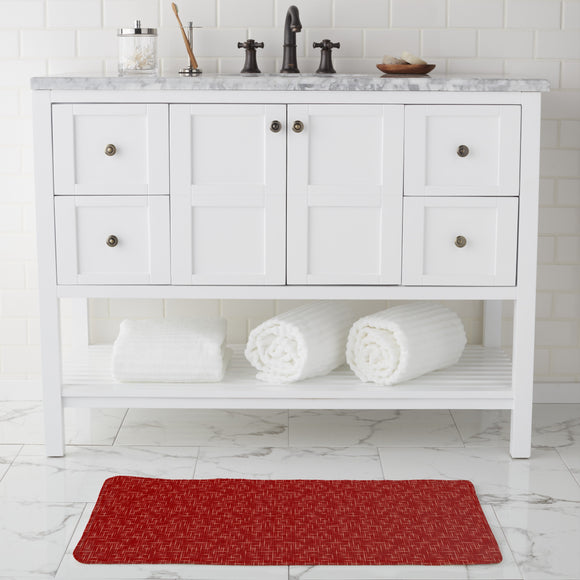 Textus Red Bathroom Rug