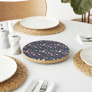 Birds Behind Floral Thicket Lazy Susan