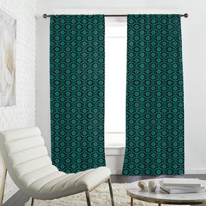 All Over Turquoise Flowers Curtains
