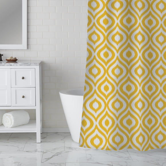 Yellow Ogee Damask Shower Curtain
