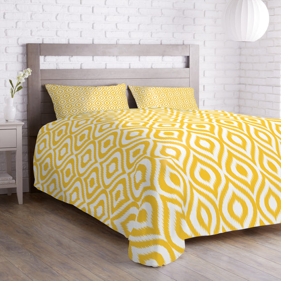 Yellow Ogee Damask Duvet