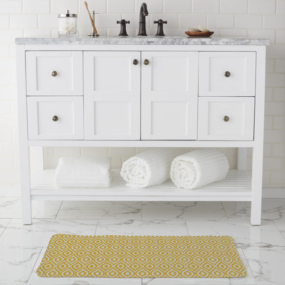 Yellow Ogee Damask Bathroom Rug