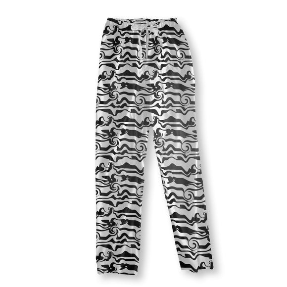 Monochrome Wave Chaos Pajama Pants