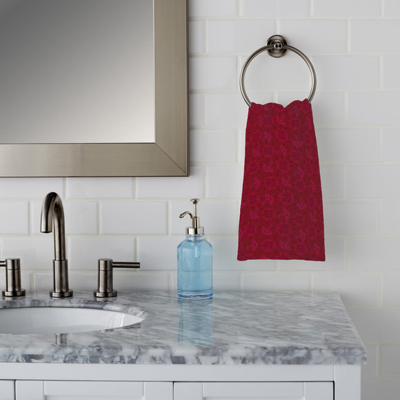 Flora In Cranberry Hand Towel