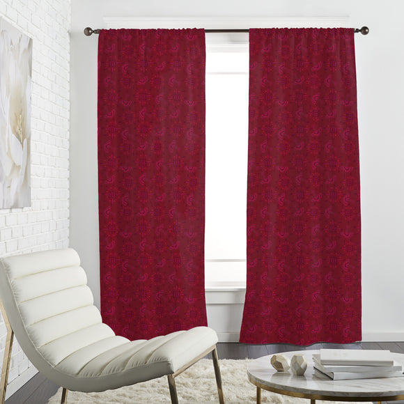 Flora In Cranberry Curtains