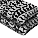 Dachshund Black And White Flat Sheets