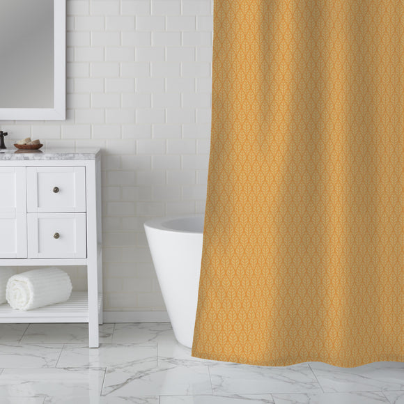 Checkered Sun Leaves   Shower Curtain