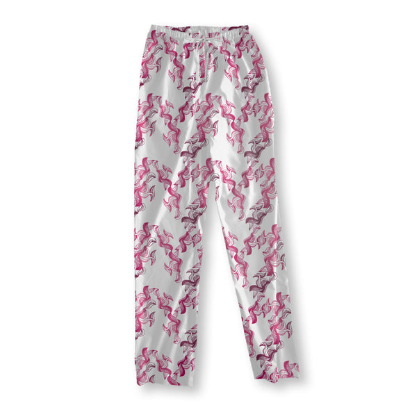 Pink Leaves Pajama Pants