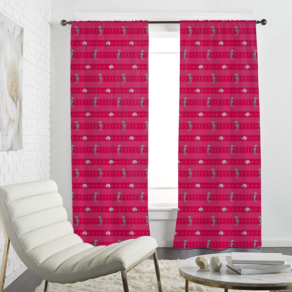 Marine Creatures Pink Curtains