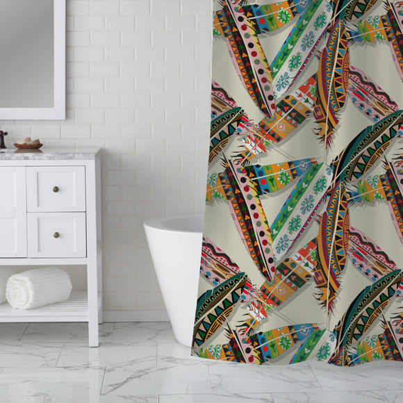 Ethno Feathers Shower Curtain