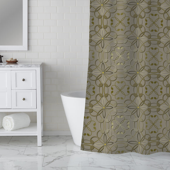 Embossed Flowers Shower Curtain