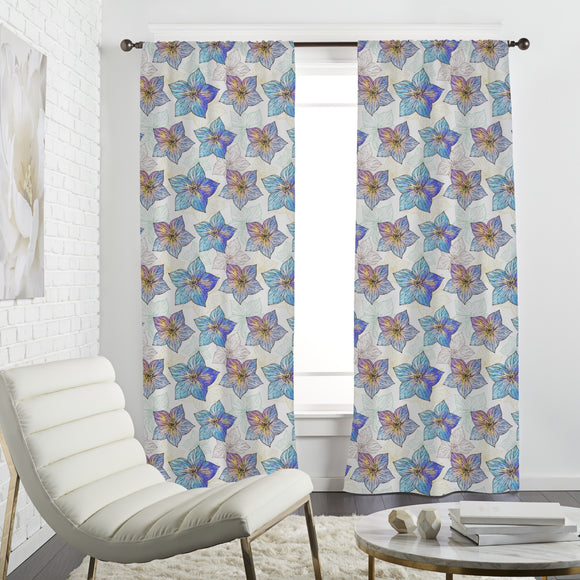Watercolor Hibiscus Curtains