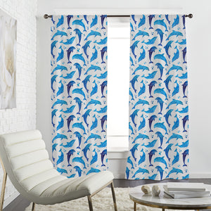 Dolphins In Water Color Curtains