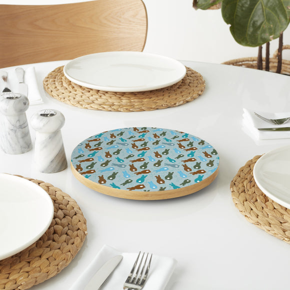 Bouncing Bunnies Blue Lazy Susan