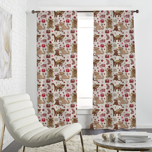 Have A Monkey Christmas Curtains