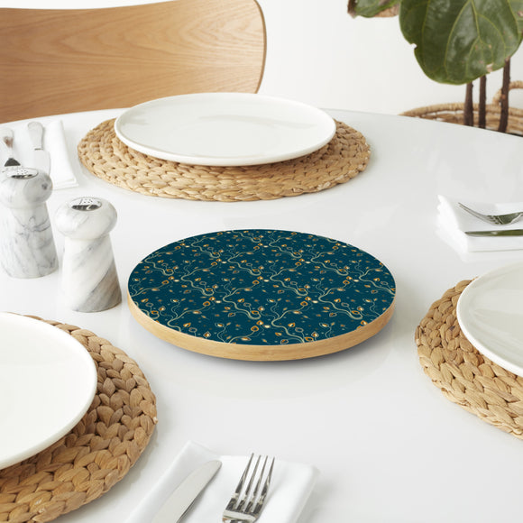 Ethno Branches Teal Lazy Susan