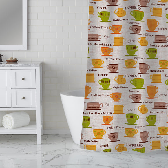 My Coffee Cups Shower Curtain