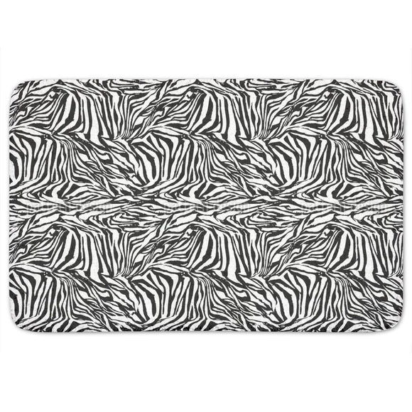 Zebra Black And White Bathroom Rug