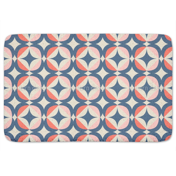 Retro Geometric Elements Bathroom Rug