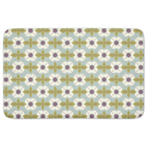Flowers In Retro Style Bathroom Rug