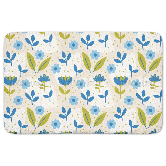 Aqua Flowers Bathroom Rug