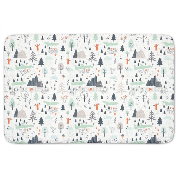 Mountain Landscape Bathroom Rug