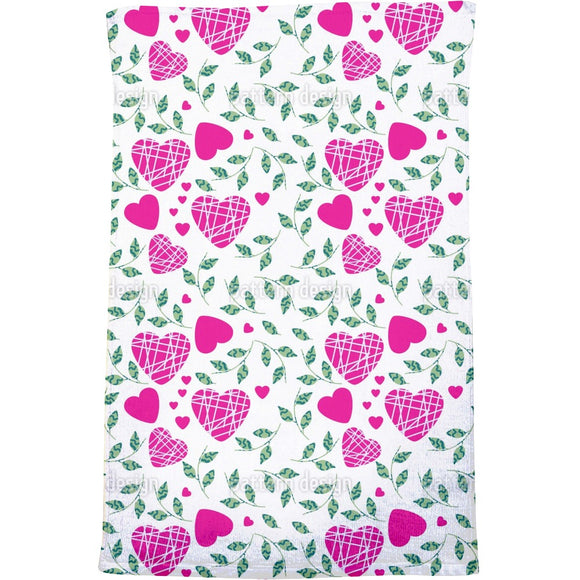 Hearts And Leaves Bath Towel