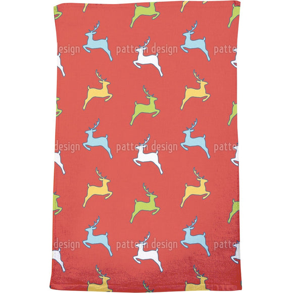 Jumping Deer Silhouettes Bath Towel