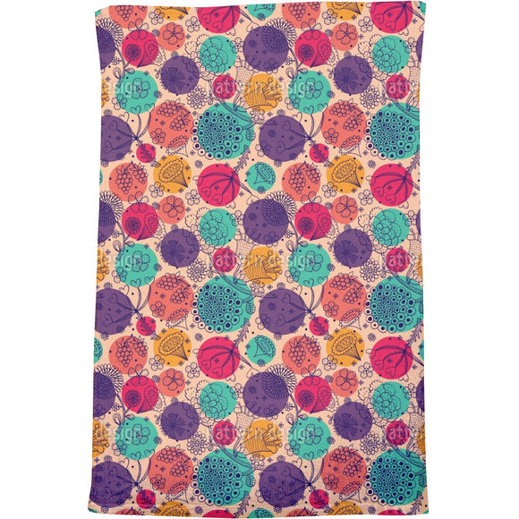Flowers And Polka Dots Bath Towel