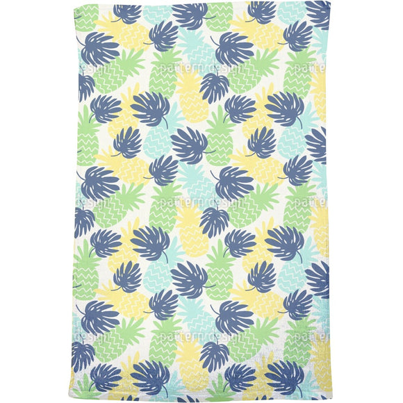Pineapples And Monstera Leaves Bath Towel