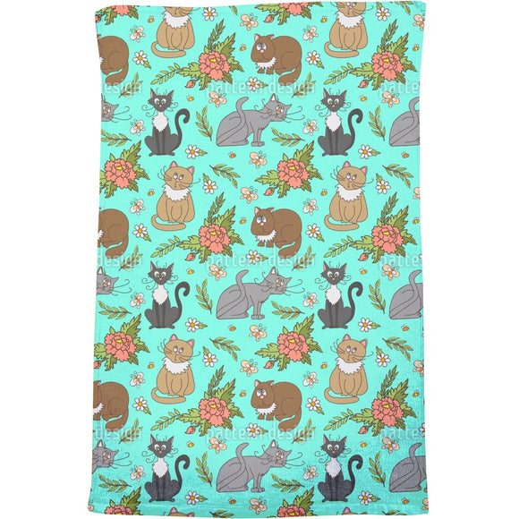 Cats in spring Bath Towel