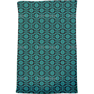All Over Turquoise Flowers Bath Towel