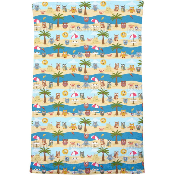 Owls By The Sea Bath Towel