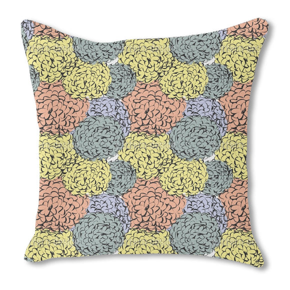 Sea Of Chrysanthemum Burlap Pillow