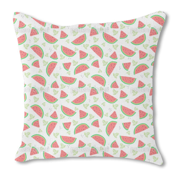 Watermelon And Mint Burlap Pillow