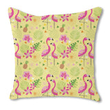 Flamingo Paradise Burlap Pillow
