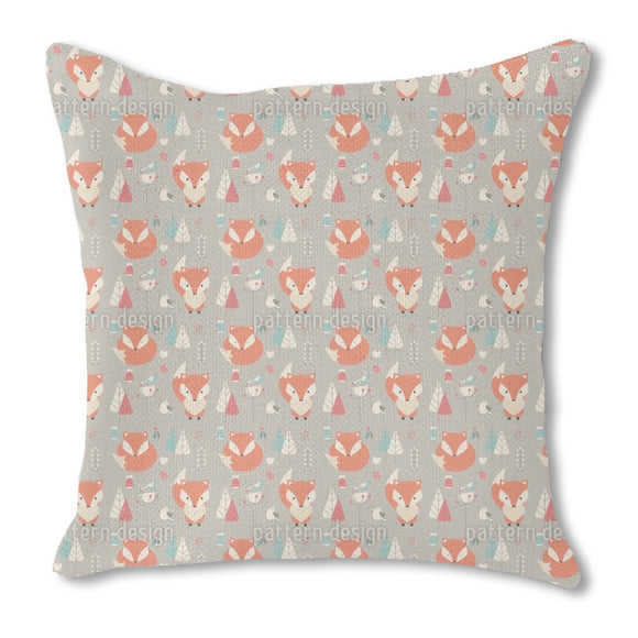 Baby Foxes Burlap Pillow