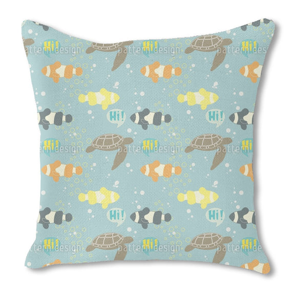 Greeting Fishes Burlap Pillow