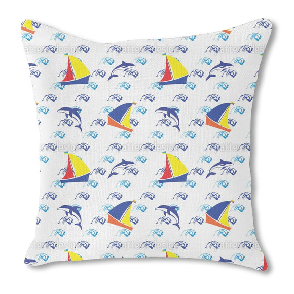 Jumping Dolphins Burlap Pillow