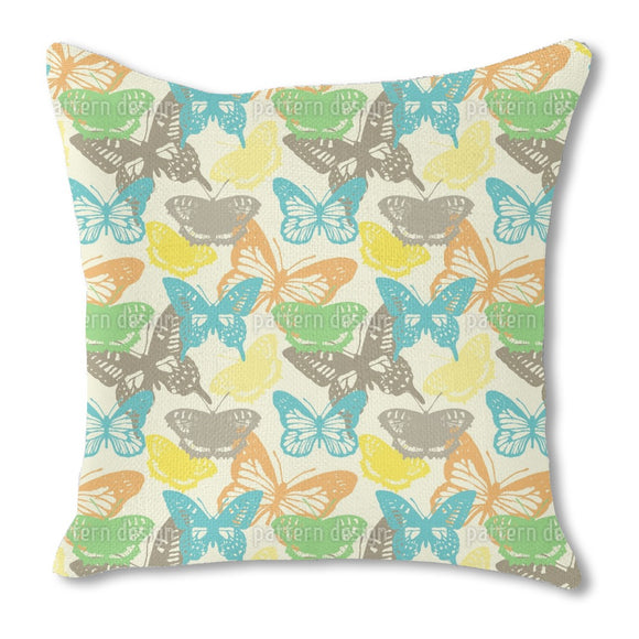 Butterfly Stamp Burlap Pillow