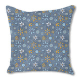 Doodle Flowers And Dots Burlap Pillow