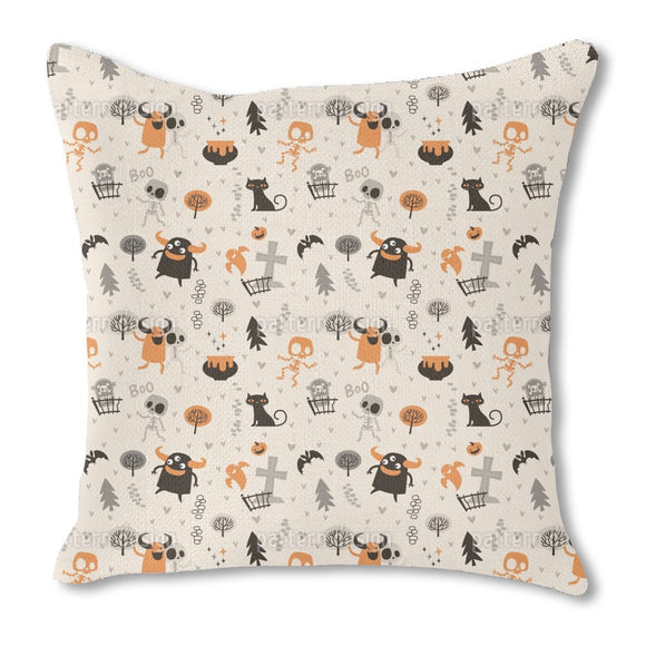Skeletons and Monsters Burlap Pillow